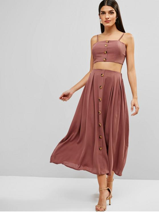 chic ZAFUL Knotted Buttoned Cami Top And Skirt Set - LIPSTICK PINK S