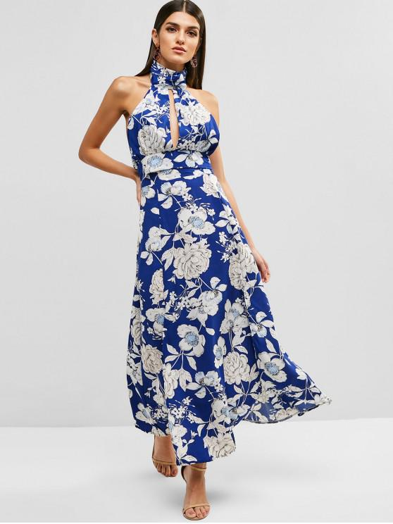 fashion Halter Floral Two Piece Dress - BLUEBERRY BLUE ONE SIZE