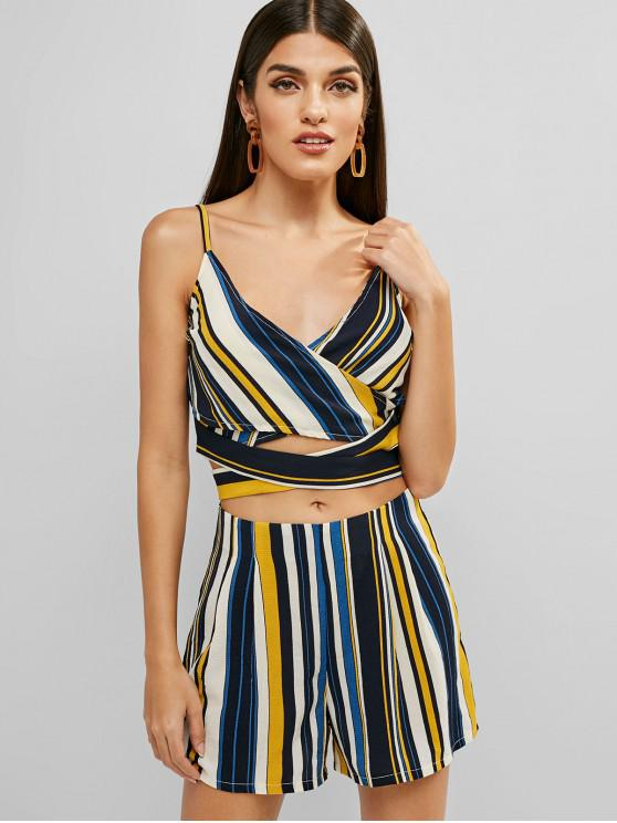 hot ZAFUL Knotted Criss Cross Stripes Top And Shorts Set - MULTI M