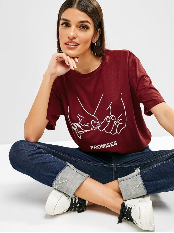 latest Letter Graphic Short Sleeves Longline Tee - RED WINE M