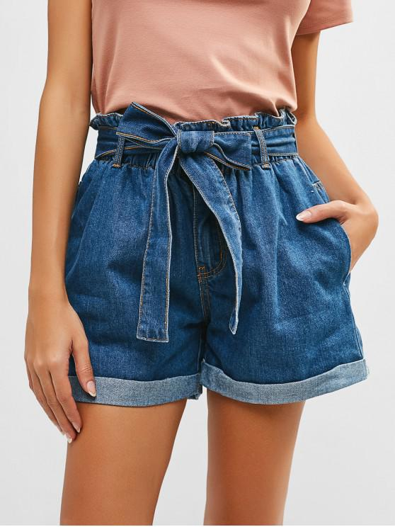 women Rolled Hem Belted Denim Shorts - DENIM DARK BLUE L