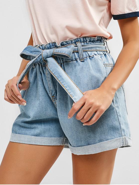 mejores zapatillas de deporte 9a0b4 c1d7e Pantalones cortos de mezclilla con cinturón dobladillo enrollado DENIM DARK  BLUE JEANS BLUE