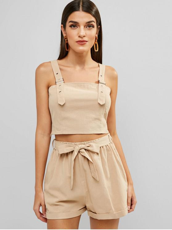 shops ZAFUL Cropped Top And Cuffed Belted Shorts Set - LIGHT KHAKI M