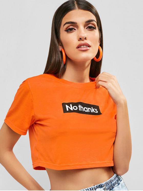 T-shirt Court Lettre Graphique - Orange Foncé L