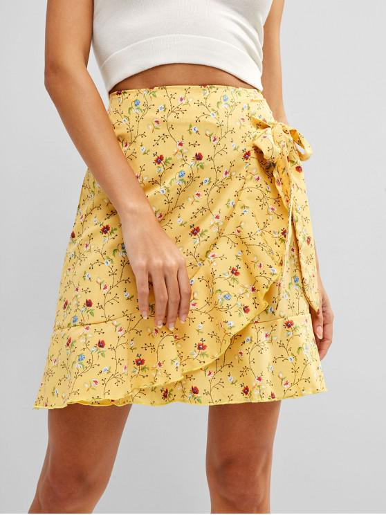 latest Knotted Ruffles Floral Mini Skirt - CORN YELLOW M