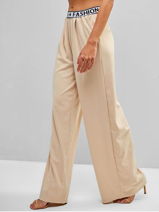 trendy Pockets Letter Graphic Wide Leg Pants - BLANCHED ALMOND L