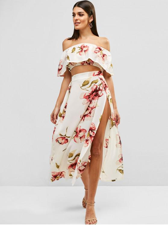 fancy Floral Print Cropped Top and Maxi Skirt Set - WARM WHITE M