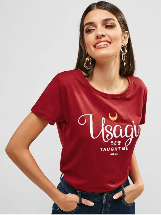 womens Round Collar Letter Graphic Tee - RED WINE M
