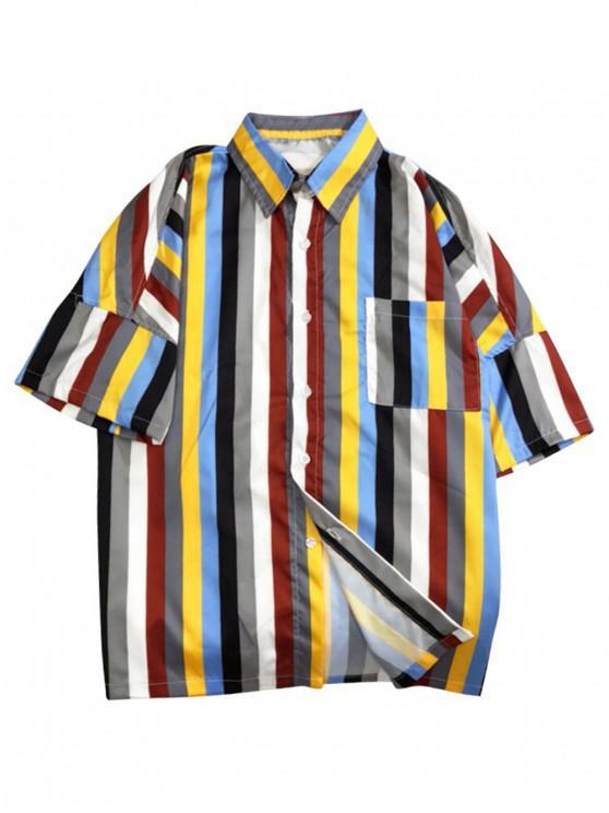 latest Chest Pocket Striped Print Drop Shoulder Shirt - MULTI-A M