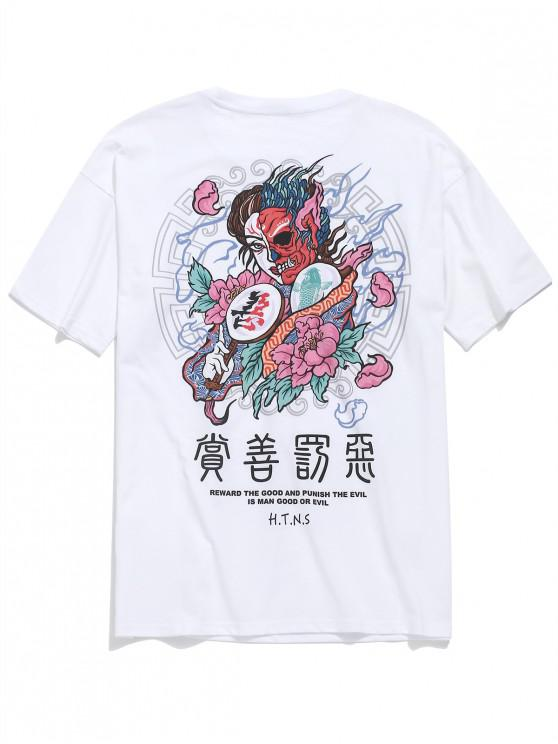 lady Flower Evil Man Letter Print Casual T-shirt - WHITE 2XL