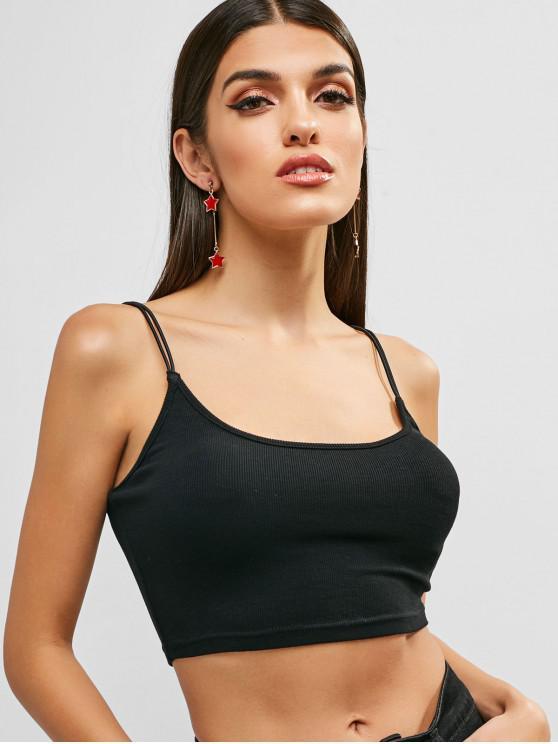 fashion ZAFUL Double Strap Crop Knit Cami Top - BLACK M