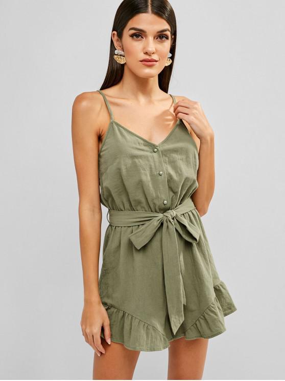 women's ZAFUL Half Button Cami Wide Leg Romper - SEA GREEN L