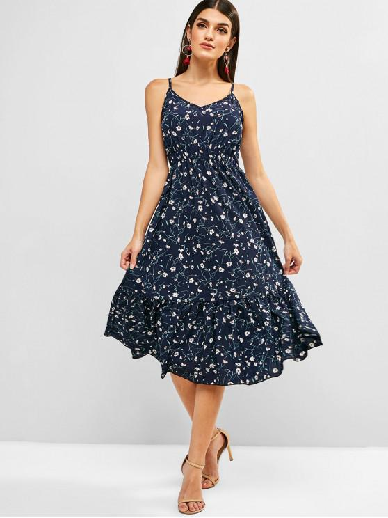 outfits Floral Elastic Waist Ruffles Cami Dress - MIDNIGHT BLUE S