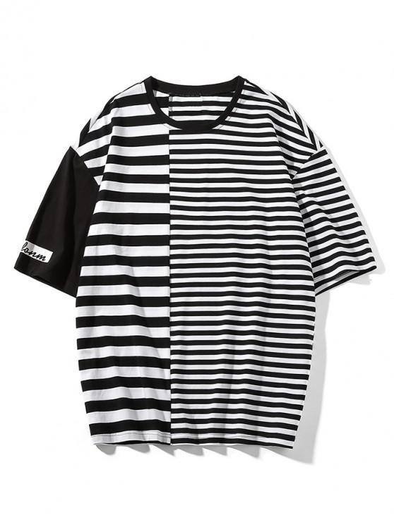 T-shirt Panneau Rayé Imprimé à Manches Courtes - Noir 3XL