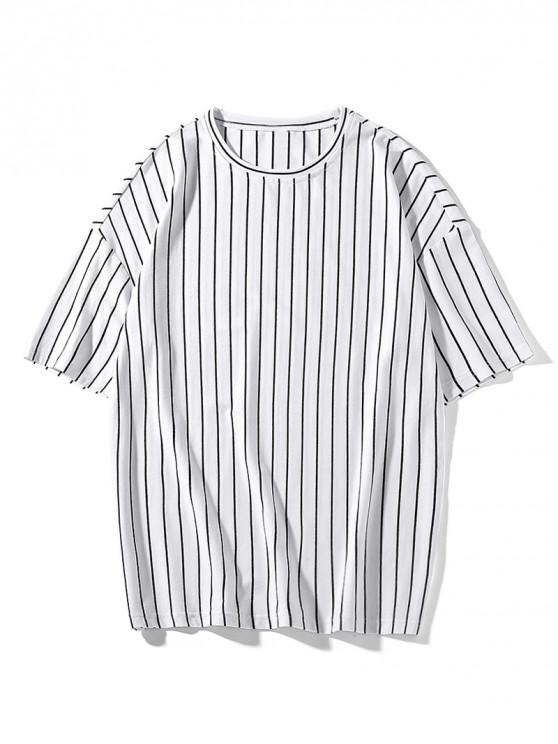 shop Striped Print Drop Shoulder T-shirt - WHITE XL