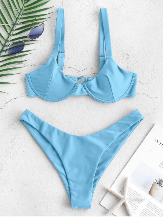 fashion ZAFUL Underwire Tie Balconette Bikini Set - ROBIN EGG BLUE M