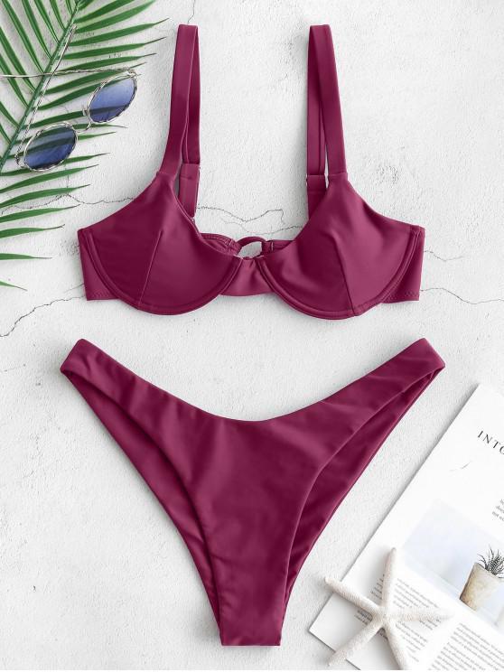 chic ZAFUL Underwire Tie Balconette Bikini Set - MAROON XL