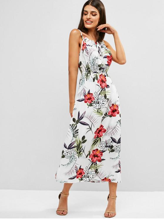 shops Floral Tied Collar Cami Dress - WHITE ONE SIZE