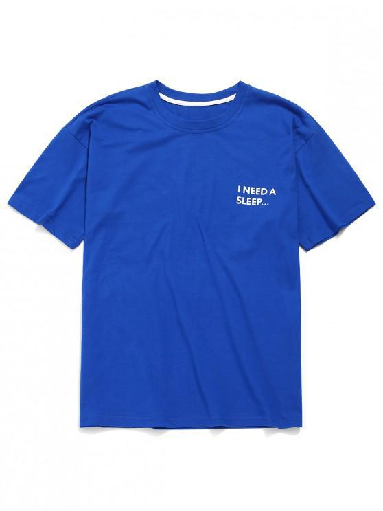Camiseta con estampado de remolque de letras, camiseta informal - Azul L