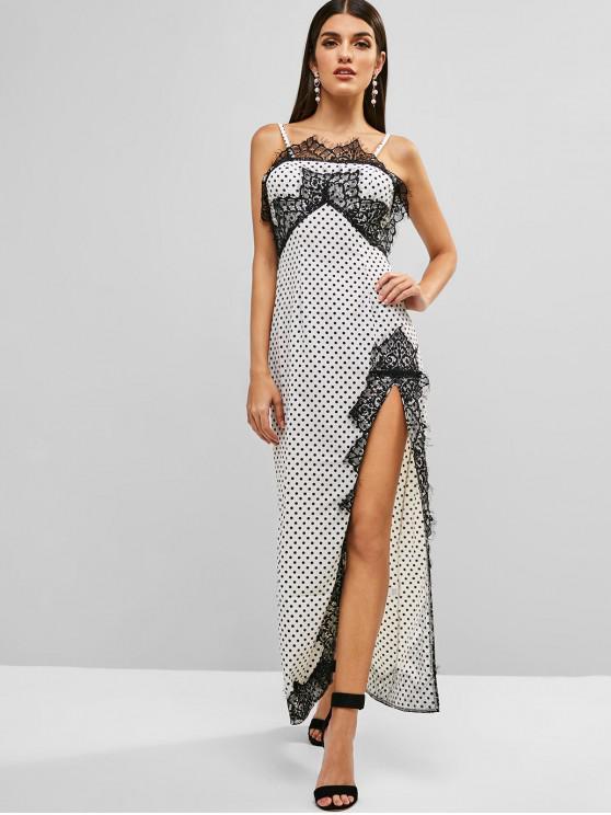 women Lace Insert Polka Dot Slit Dress - WHITE M