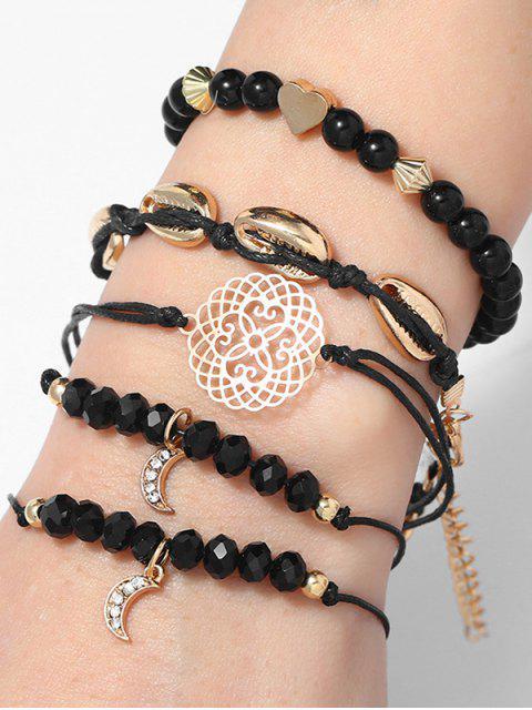 fancy Seashell Decoration Knitted Bracelets Set - BLACK  Mobile