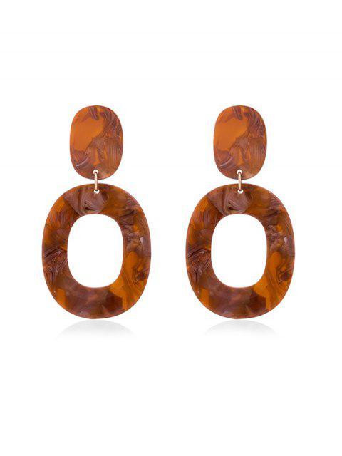 sale Stone Pattern Oval Drop Earrings - LIGHT BROWN  Mobile
