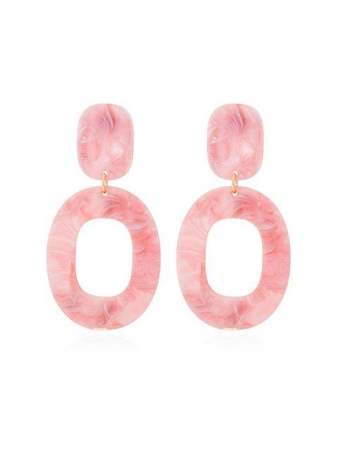 affordable Stone Pattern Oval Drop Earrings - LIGHT PINK  Mobile