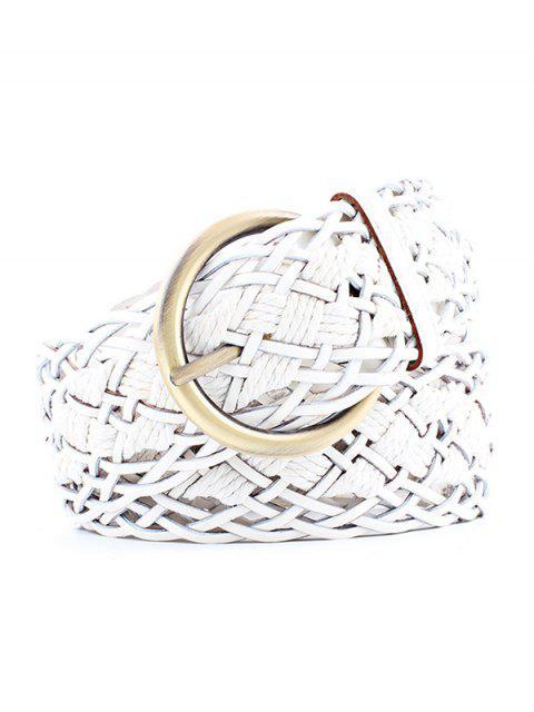 best Wide Weaving Round Buckle Belt - WHITE  Mobile