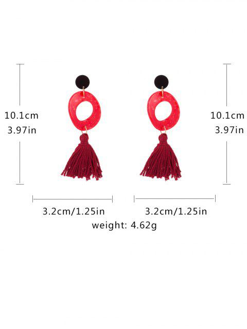 online Retro Tassel Decoration Drop Earrings - RED  Mobile