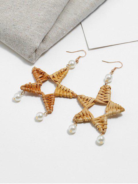 new Star Faux Pearl Rattan Earrings - KHAKI  Mobile
