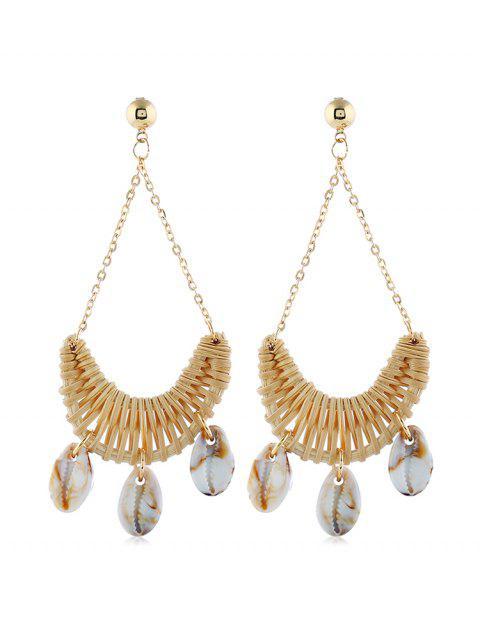 hot Seashell Decoration Knitted Drop Earrings - KHAKI  Mobile