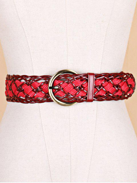 outfit Wide Weaving Round Buckle Belt - RED WINE  Mobile