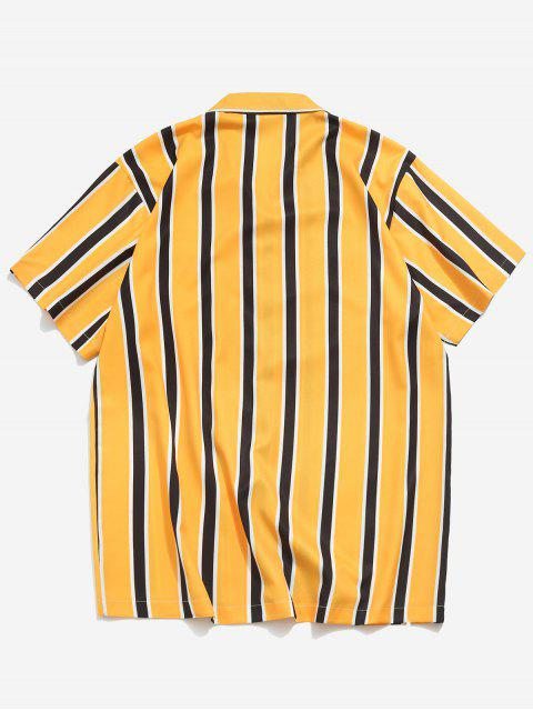 latest Stripes Print Button Up Casual Shirt - YELLOW 2XL Mobile
