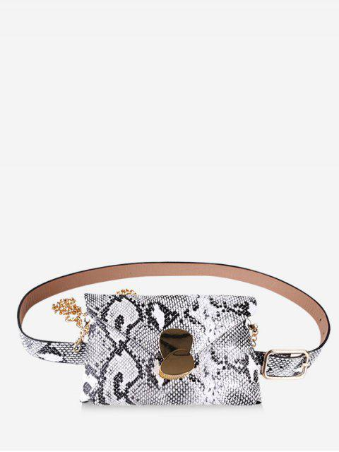 trendy Snakeskin Design Fanny Pack - WHITE  Mobile