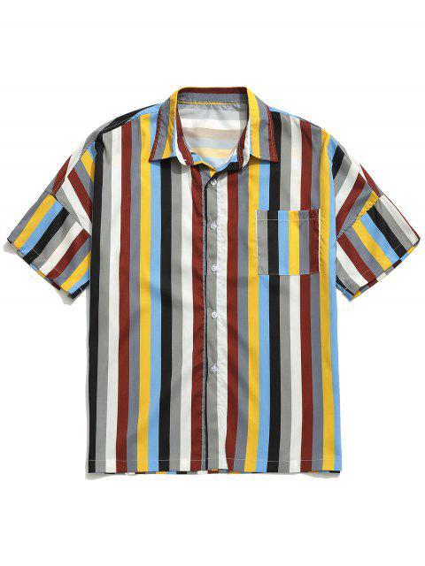 chic Chest Pocket Striped Print Drop Shoulder Shirt - MULTI-A 2XL Mobile