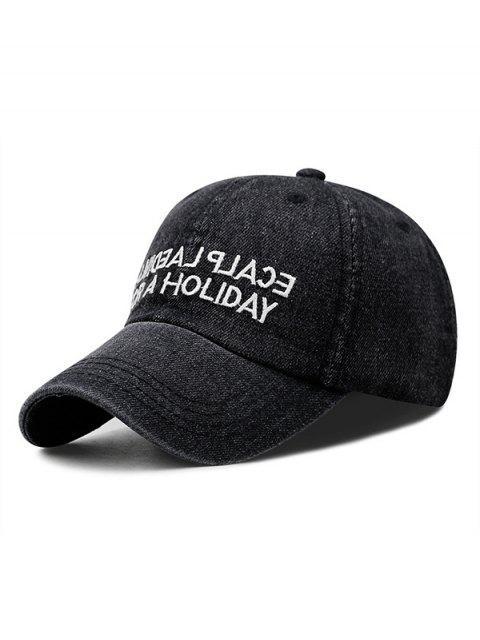 womens Letter Denim Baseball Cap - BLACK  Mobile