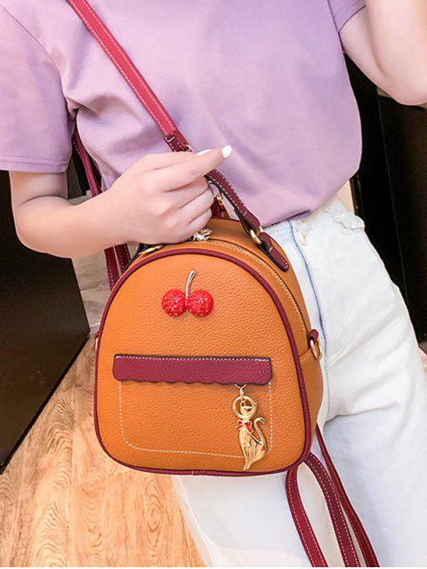 women's Contrast Color Cat Charm Mini Backpack - BROWN  Mobile