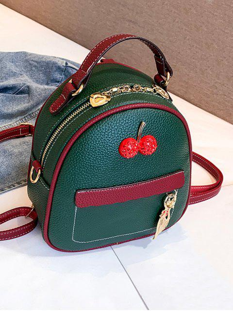 ladies Contrast Color Cat Charm Mini Backpack - DARK FOREST GREEN  Mobile