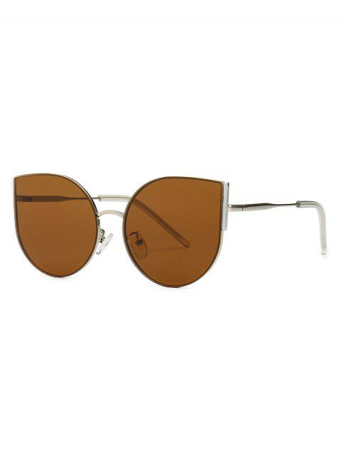 online Metal Oversized Catty Eye Sunglasses - BROWN  Mobile