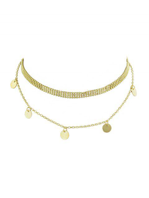 hot Round Disc Design Alloy Necklace - GOLD  Mobile