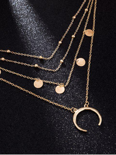 outfit Moon Decoration Multilayered Alloy Necklace - GOLD  Mobile