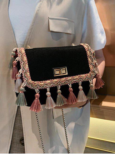 online Fringed Woven Chain Crossbody Bag - BLACK  Mobile