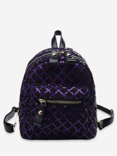 fashion Rhombic Sequined Mini Backpack - PURPLE IRIS  Mobile