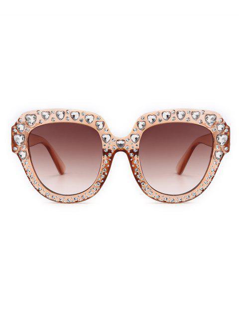 unique Heart Rhinestone Square Sunglasses - CHAMPAGNE  Mobile