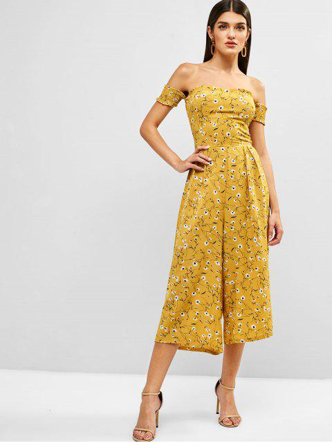 shops Floral Off Shoulder Smocked Wide Leg Jumpsuit - YELLOW L Mobile