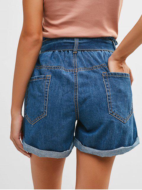 women Rolled Hem Belted Denim Shorts - DENIM DARK BLUE L Mobile
