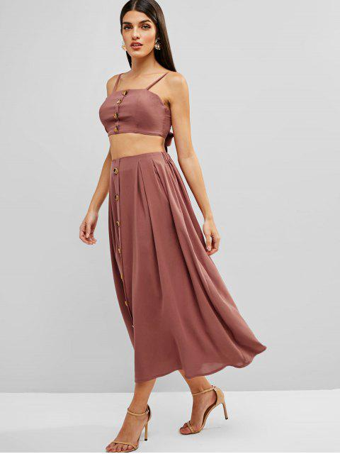 trendy ZAFUL Knotted Buttoned Cami Top And Skirt Set - LIPSTICK PINK M Mobile