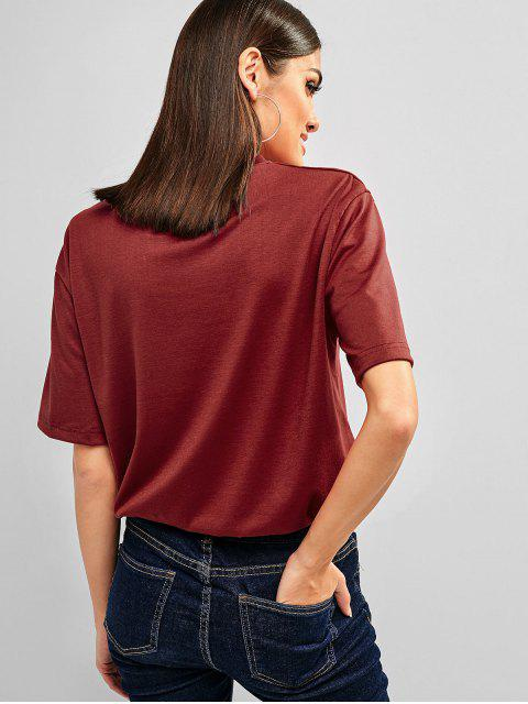 latest Letter Graphic Short Sleeves Longline Tee - RED WINE M Mobile