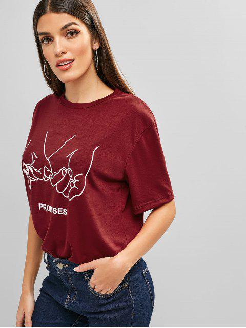 women's Letter Graphic Short Sleeves Longline Tee - RED WINE S Mobile