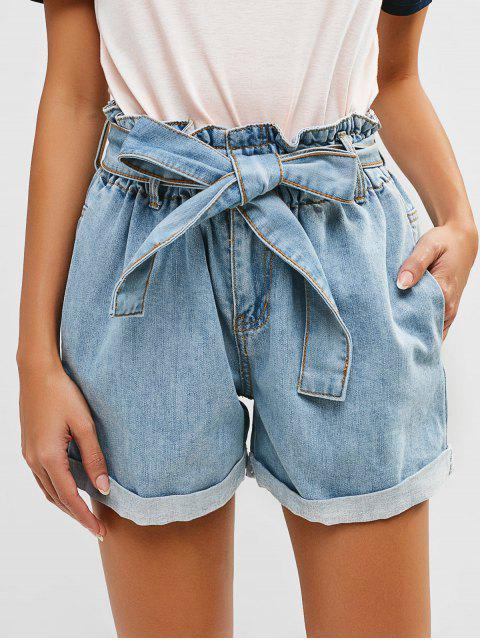 hot Rolled Hem Belted Denim Shorts - JEANS BLUE S Mobile